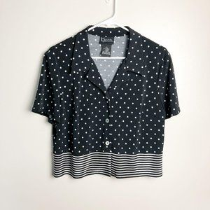 Vintage Cropped Button Down Mixed Print Top